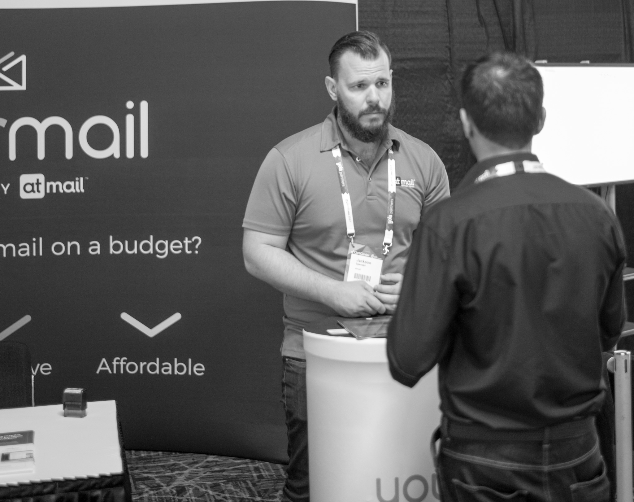 Jackson Spender at yourmail booth, WHD Vegas, atmail