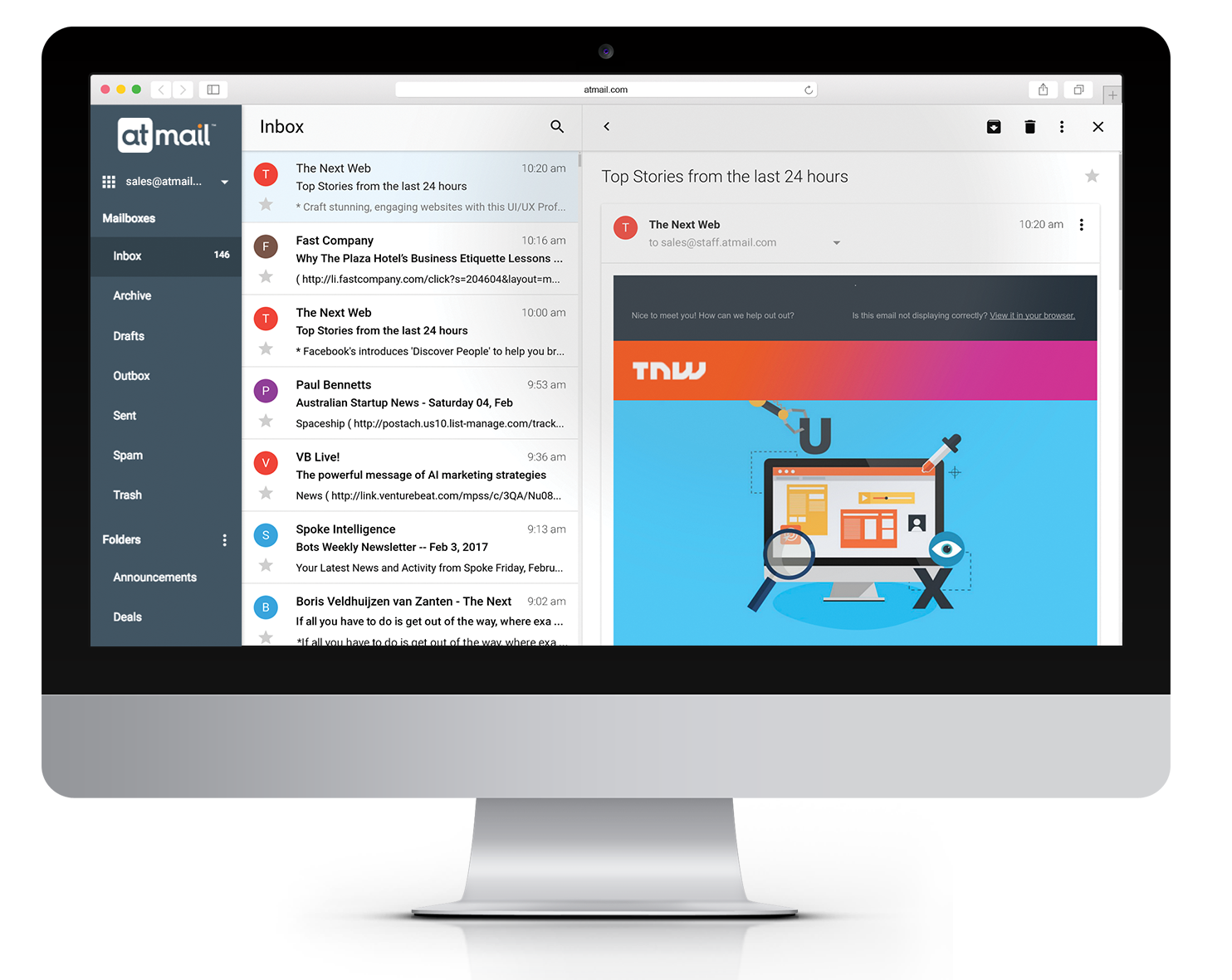 atmail suite - new navigation view - atmail email webmail