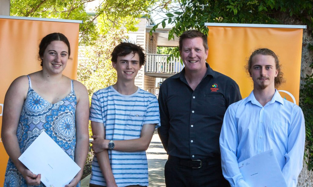 Southern Phone scholarship recipients with Managing Director David Joss - telco - telecommunications - Australia - atmail email customer