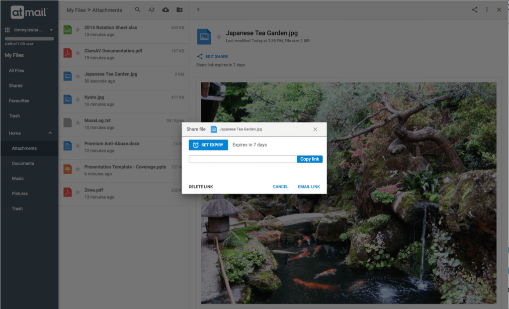 My Files 'Share' - atmail suite 8.4.1