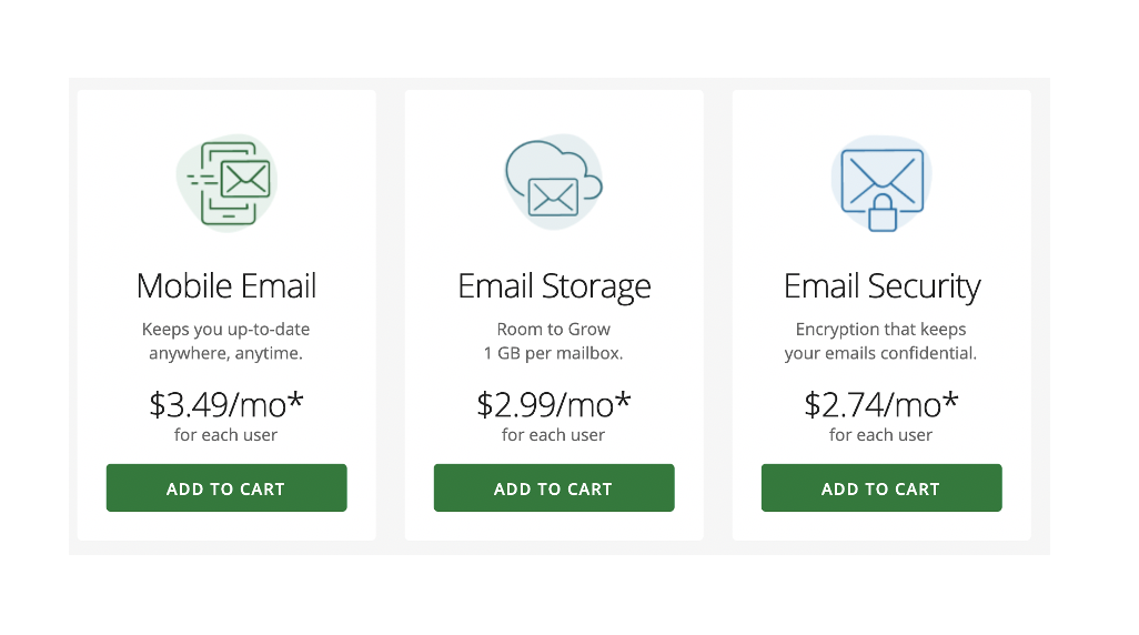 Example upsell pricing for email - email pricing examples - hosting providers